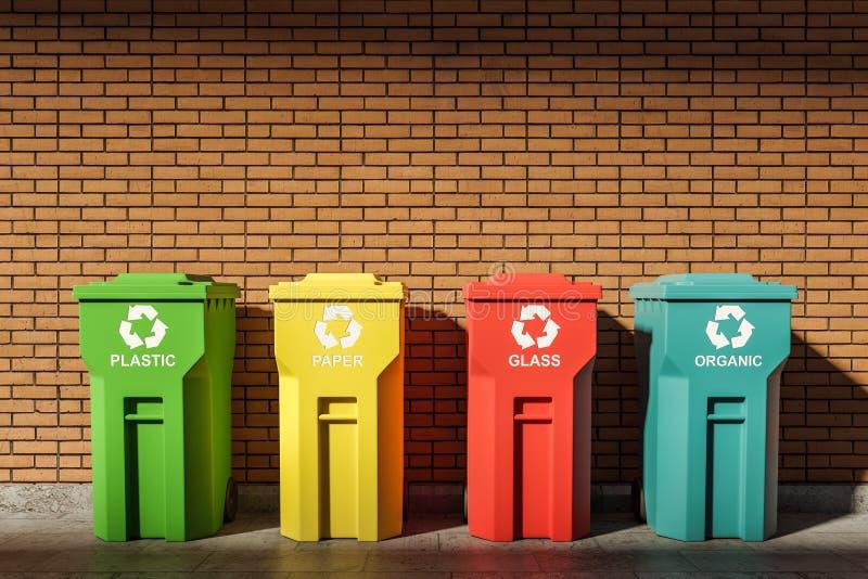 Wiersz kolorowych pojemników na recykling w pobliżu ściany z cegły royalty ilustracja