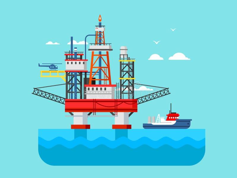 Wiertniczy takielunek przy morzem ilustracja wektor