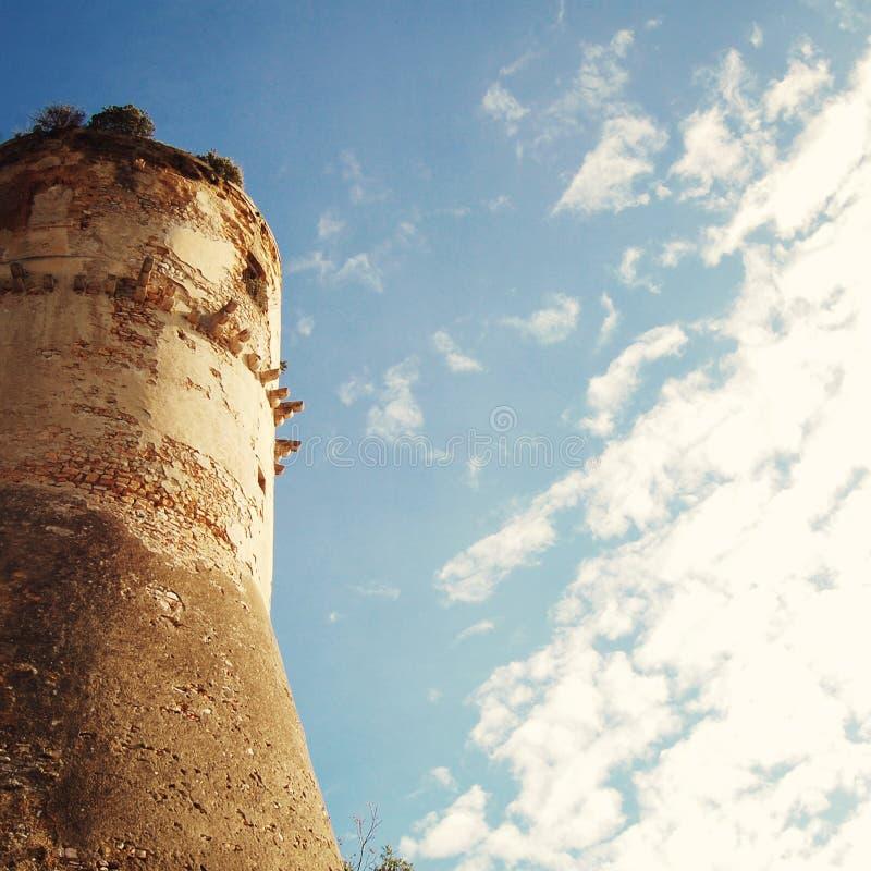 Wierza Aragonese kasztel w Gaeta - rocznika skutek obrazy stock
