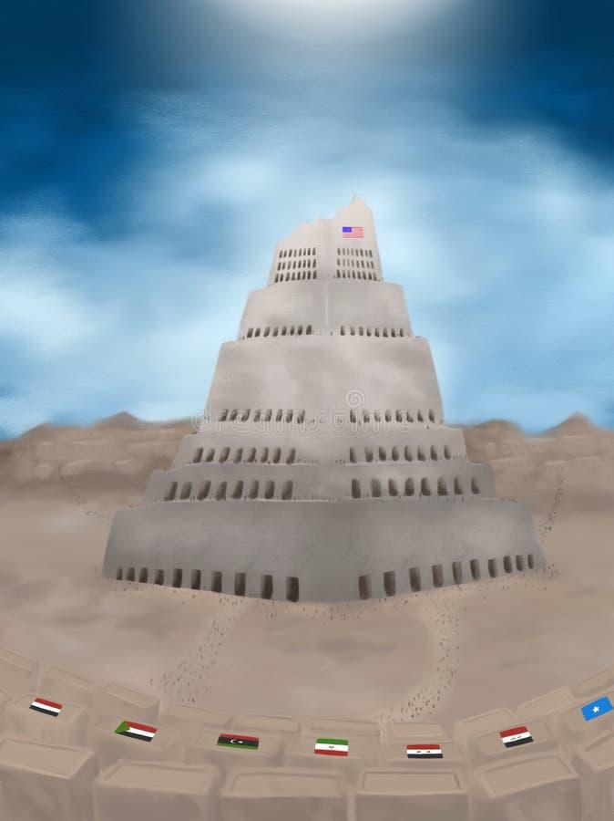Wierza Babel zakazu pojęcia Imigracyjna ilustracja ilustracja wektor