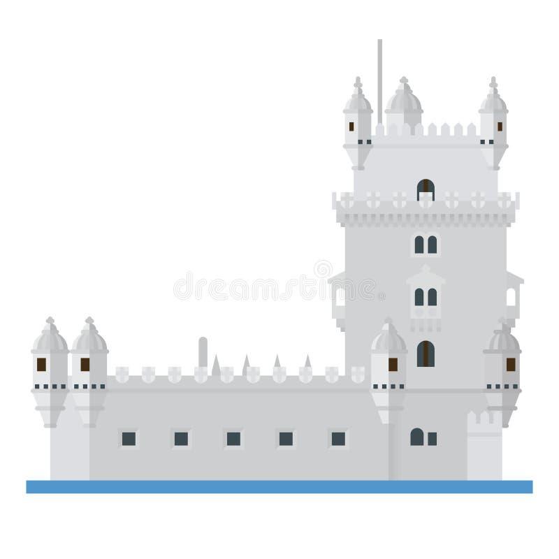 Wierza Belem, Lisbon, Portugalia płaska projekta wektoru ikona ilustracja wektor
