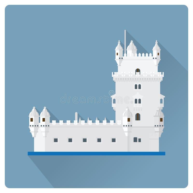 Wierza Belem, Lisbon, Portugalia płaska projekta wektoru ilustracja royalty ilustracja