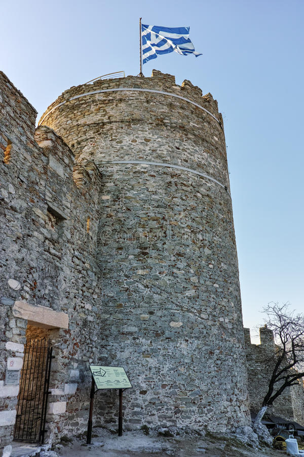 Wierza Bizantyjski kasztel w Kavala, Grecja zdjęcie stock