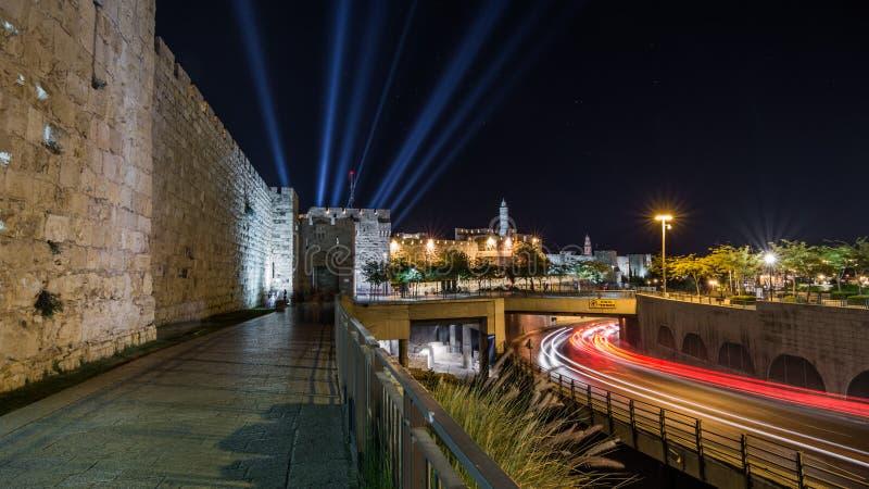 Wierza David noc, horyzontalny Stary miasto w Jerozolima, I zdjęcie royalty free