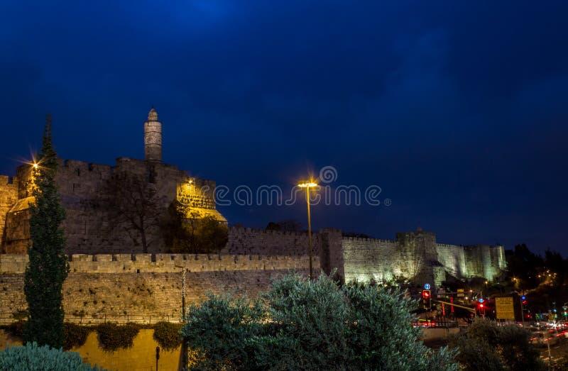 Wierza David w nocy, Jerozolima obraz stock