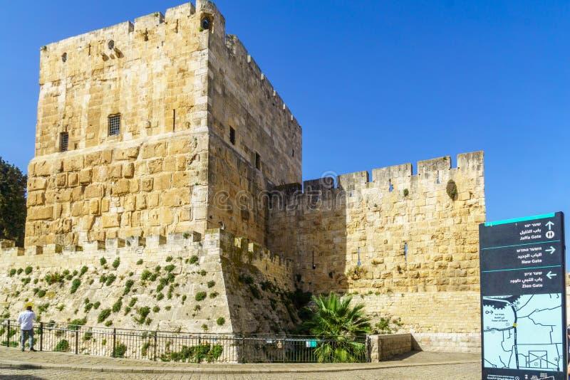 Wierza David zabytek, stary miasto Jerozolima obraz royalty free