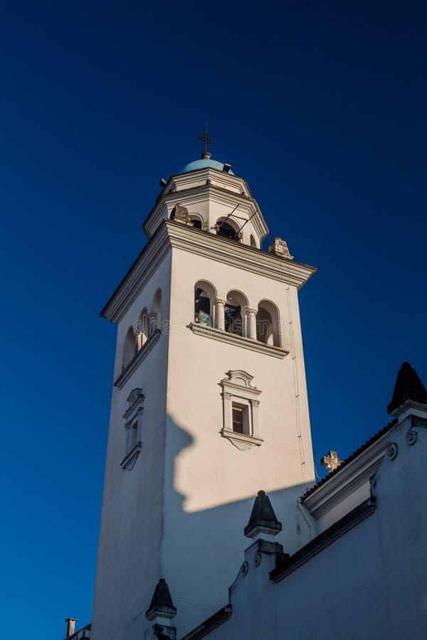 Wierza Iglesia De Los angeles Merced kościół w San Miguel de Tucuman, Argenti fotografia royalty free