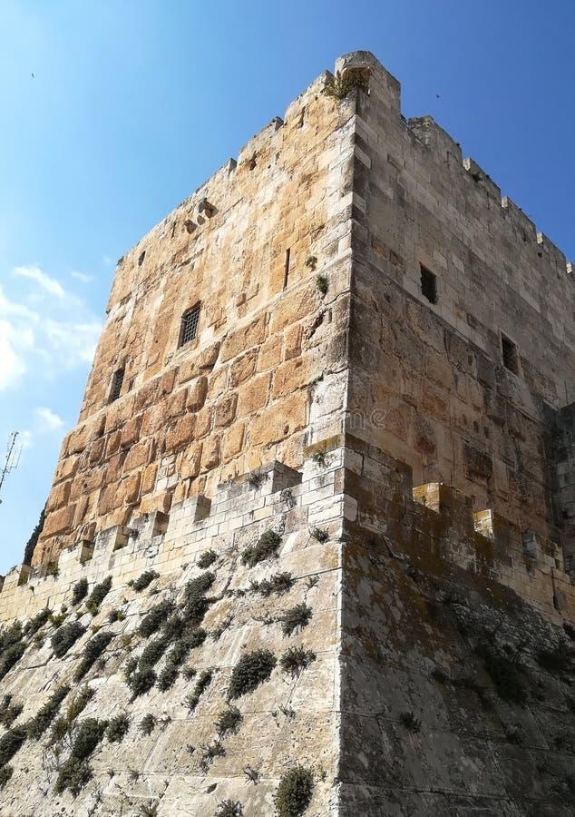 Wierza królewiątko Davide al aqsa miasta Jerusalem meczetowy stary widok obraz royalty free