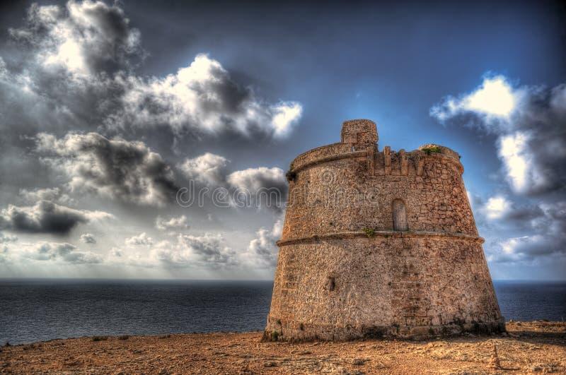 Wierza obrona es nakrętka De Barbaria w Formentera obrazy stock