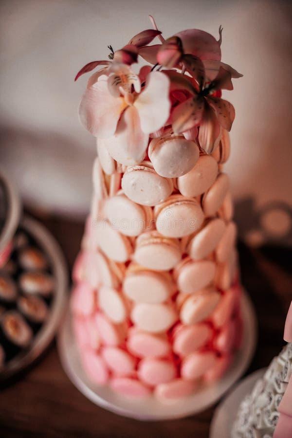 Wierza różowy macaron fotografia stock