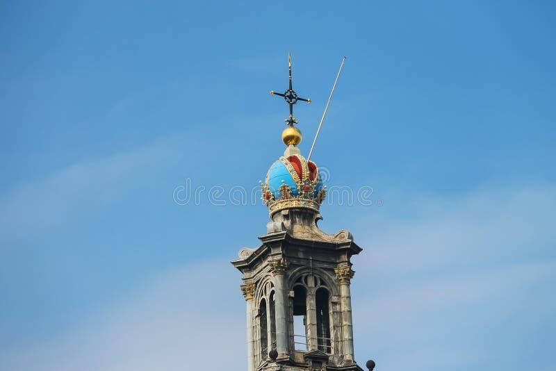 Wierza sławny Zachodni kościół w Amsterdam holandie obraz stock