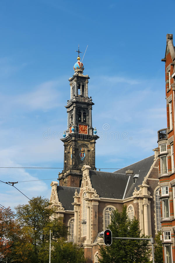 Wierza sławny Zachodni kościół w Amsterdam holandie zdjęcie stock