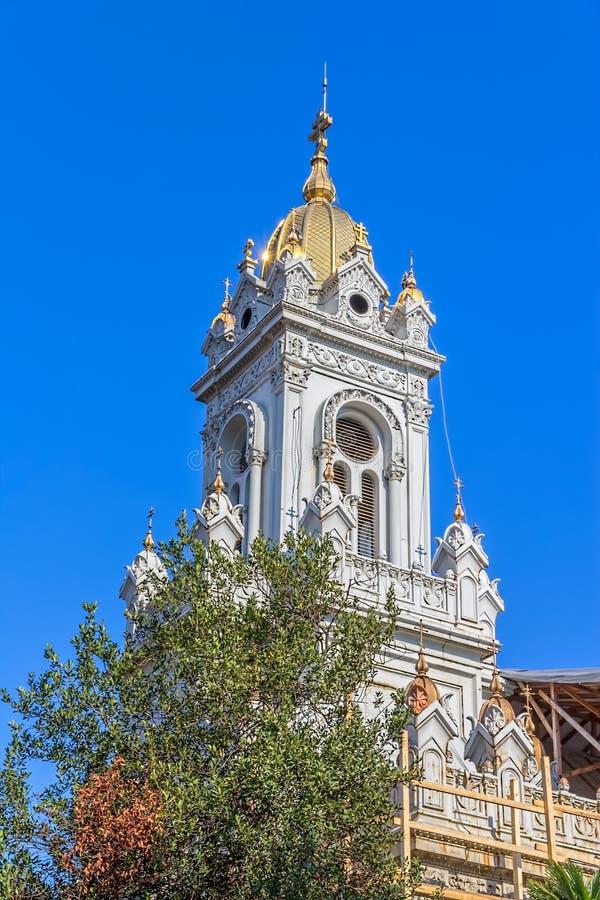 Wierza St Stephen kościół w Istanbuł obraz stock