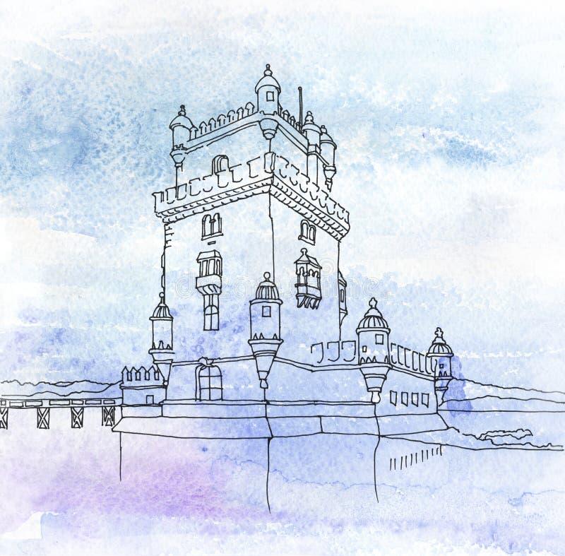 Wierza St Vincent Portugal lizbońskiego ilustracja wektor
