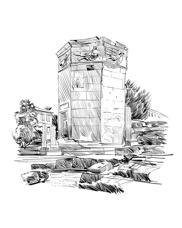 Wierza wiatry agora rzymska athens Grecja Ręka rysujący nakreślenie również zwrócić corel ilustracji wektora ilustracji