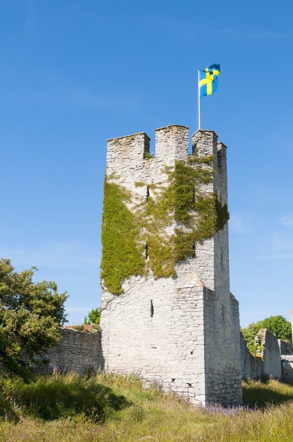 Wierza ścienny Visby i miasto zdjęcie royalty free