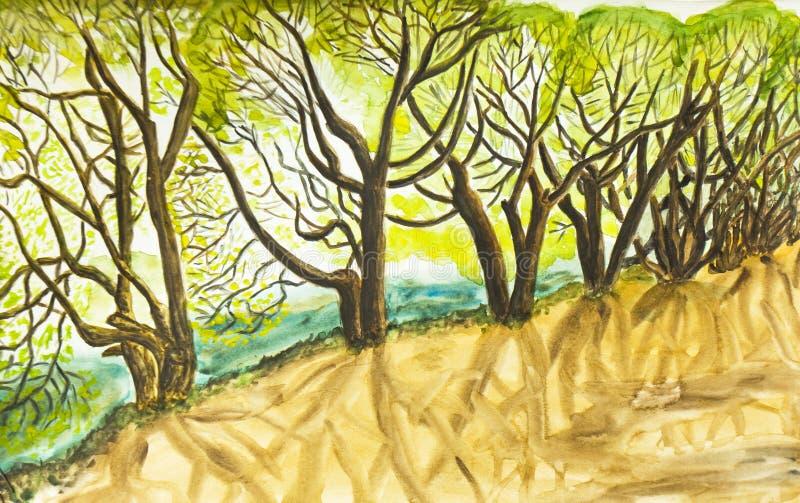 Wierzbowi drzewa, maluje royalty ilustracja