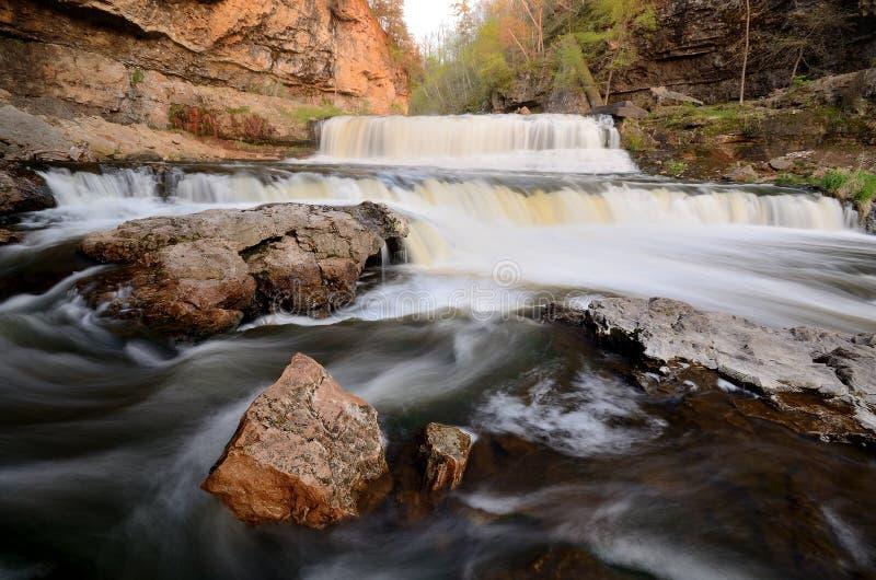 Wierzbowi rzeka spadki zdjęcia stock