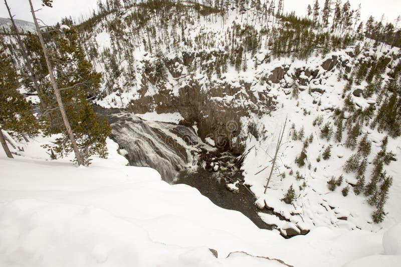 Wierzch Spada na Yellowstone rzece w Yellowstone parku narodowym wewnątrz zdjęcie royalty free