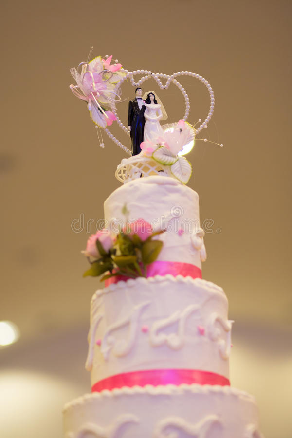 Wierzchołek Ślubny tort obraz stock