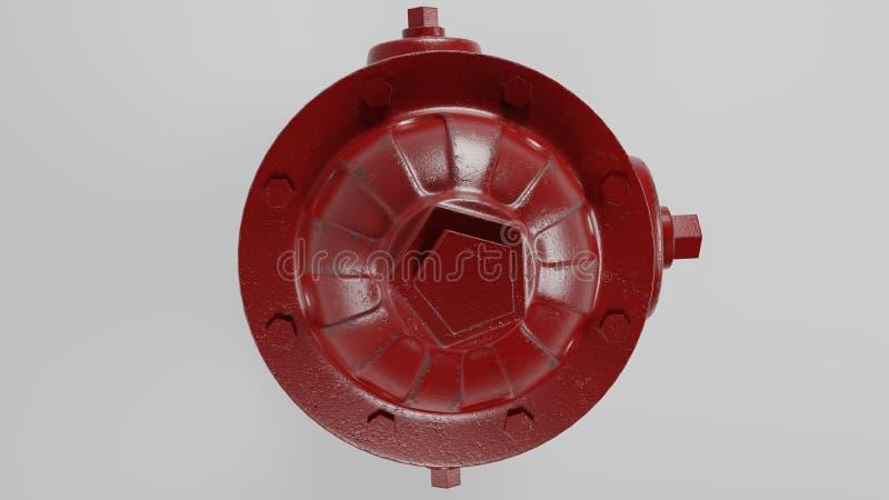 Wierzchołek czerwony pożarniczy hydrant odizolowywający na bielu z few zrudziała 3d ilustracja i royalty ilustracja