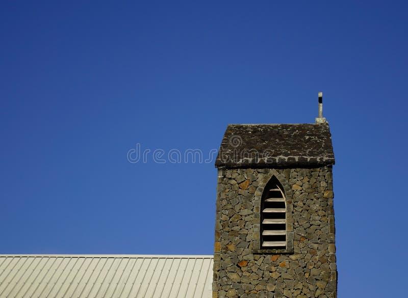 Wierzchołek kamienny kościół w Uroczystym Baie, Mauritius obraz stock