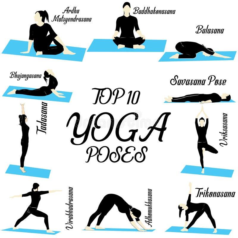 Wierzchołka 10 joga ilustraci pozy dla beginner ilustracja wektor