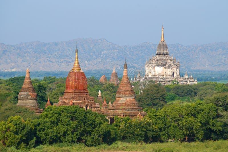 Wierzchołki antyczne Buddyjskie świątynie na pogodnym popołudniu bagan Myanmar obraz royalty free