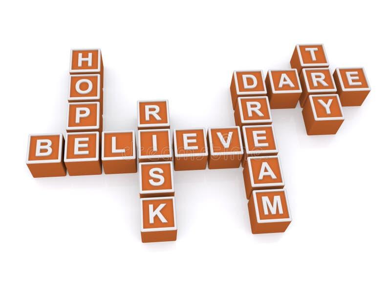 Wierzy, mieć_nadzieja, marzy i ośmiela się, ilustracja wektor
