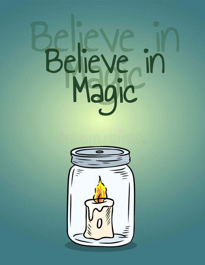 Wierzy w magicznej świeczce w słoju plakacie Świeczki światło wśrodku butelki royalty ilustracja