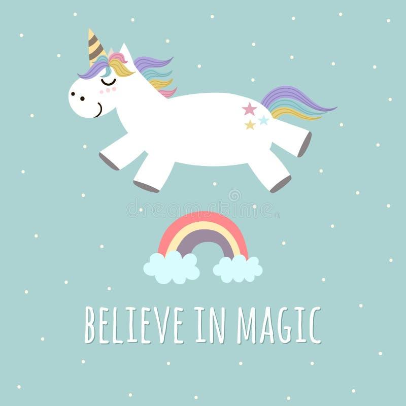 Wierzy w Magicznym plakacie, kartka z pozdrowieniami z śliczną jednorożec i tęczy, royalty ilustracja