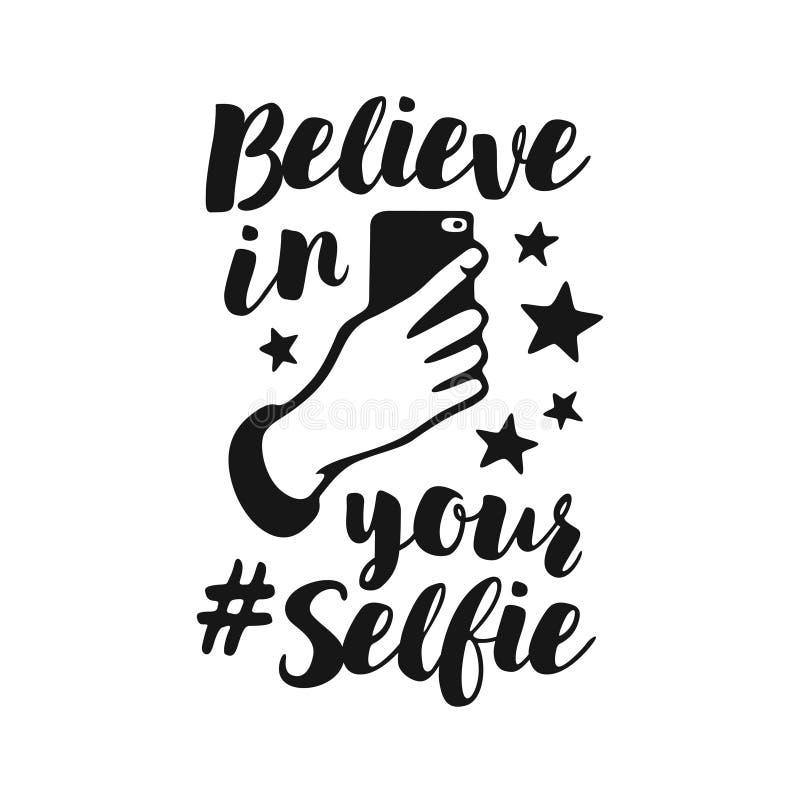 Wierzy w twój selfie śmiesznym plakacie Wektorowa rocznik ilustracja ilustracja wektor