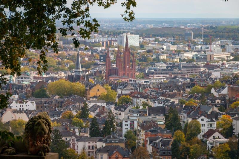 Wiesbaden, Duitsland van Neroberg wordt gezien die stock afbeeldingen