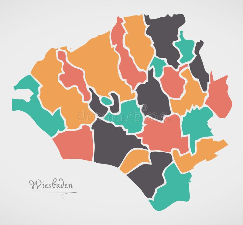 Wiesbaden Map with boroughs and modern round shapes. Illustration royalty free illustration