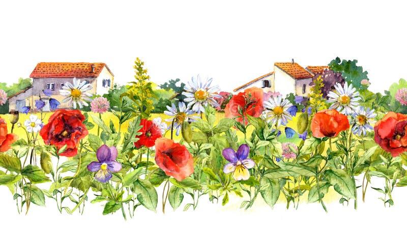 Wiese blüht, wilde Kräuter, ländliche Häuser Rosafarbener Blumenrand watercolor Nahtloser Rahmenstreifen in der Weinleseart vektor abbildung
