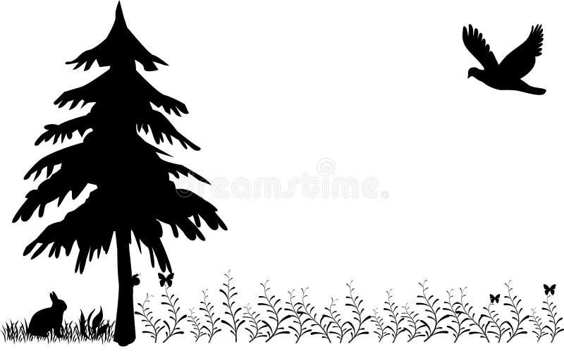 Wiese mit Kaninchen, Fleischfresser und Baum und Blumen lizenzfreie abbildung