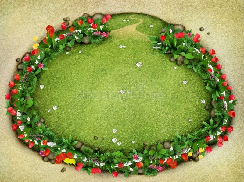Wiese mit Zaun und Blumen, Draufsicht stock abbildung