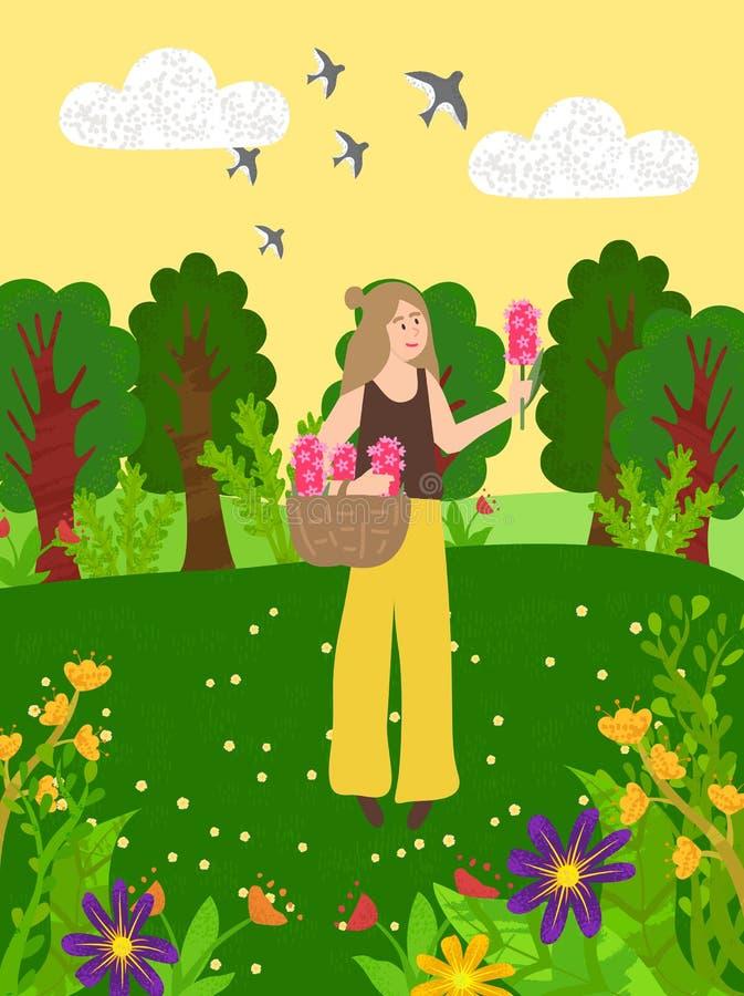 Wiese und blühende Blumen-Wald-und Grünebäume stock abbildung