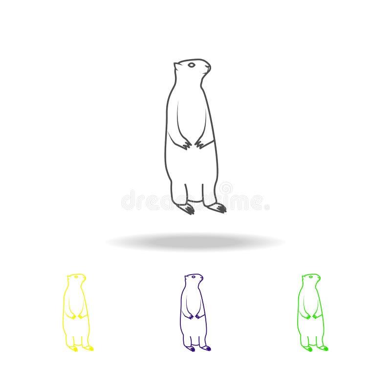 Wiesenhund, mehrfarbige Entwurfsikonen des Nagetiers Element der Nagetierillustration Zeichen und Symbole umreißen Ikone für Webs stock abbildung