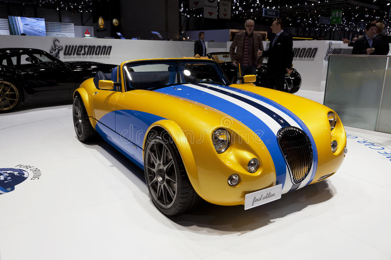 Wiesmann Roadster Scuba Mobil. At the 2012 Geneva motor show. Wiesmann will produce 18 final edition versions of in celebration of 18 years of the MF3 roadster royalty free stock photography