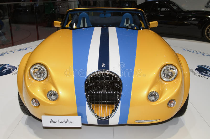 Wiesmann Roadster Scuba Mobil - Geneva 2012. In order to celebrate the 18 years of its MF3 roadster, Wiesmann will produce 18 final edition versions of this royalty free stock image