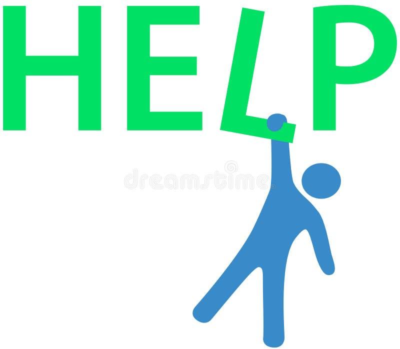 Wiesza mężczyzna potrzeby Pomoc informację royalty ilustracja