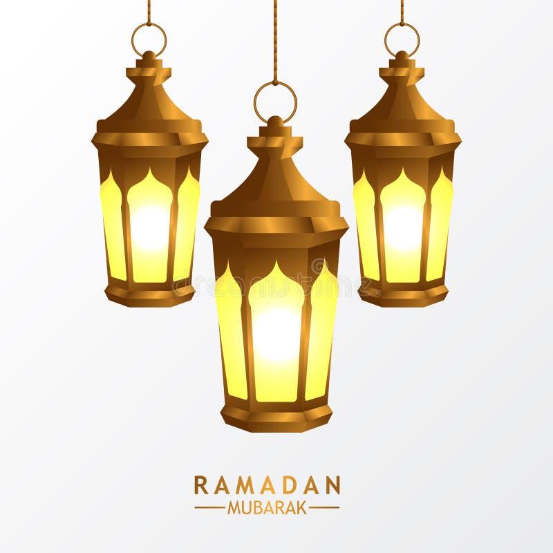 wieszająca grupowa 3D złota realistyczna fanous arabska latarniowa lampa z białym tłem dla islamskiego wydarzenia ilustracji