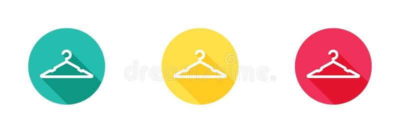 Wieszak ikona w zieleni, kolorze żółtym i czerwonym tle z długim cienia skutkiem, odziewa stojaka symbol, projekt dla sieci lub m royalty ilustracja