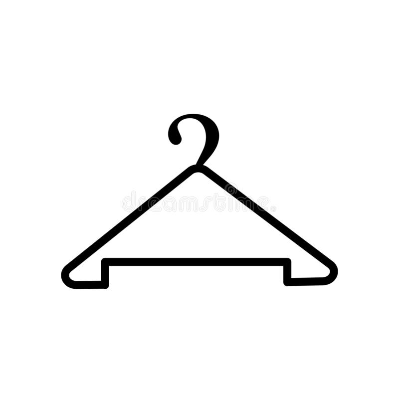 Wieszak ikony wektor odizolowywający na białym tła, wieszaka znaka, kreskowego lub liniowego znaku, elementu projekt w konturu st royalty ilustracja
