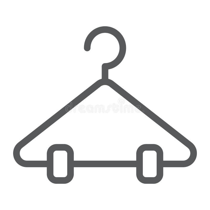 Wieszak kreskowa ikona, szafa i garderoba, stojaka znak, wektorowe grafika, liniowy wzór na białym tle ilustracja wektor