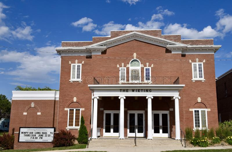 The Wieting Theater. This is a Summer picture of the Wieting Theater located in Toledo, Iowa in Benton County. The building is an example of Colonial Revival stock photo