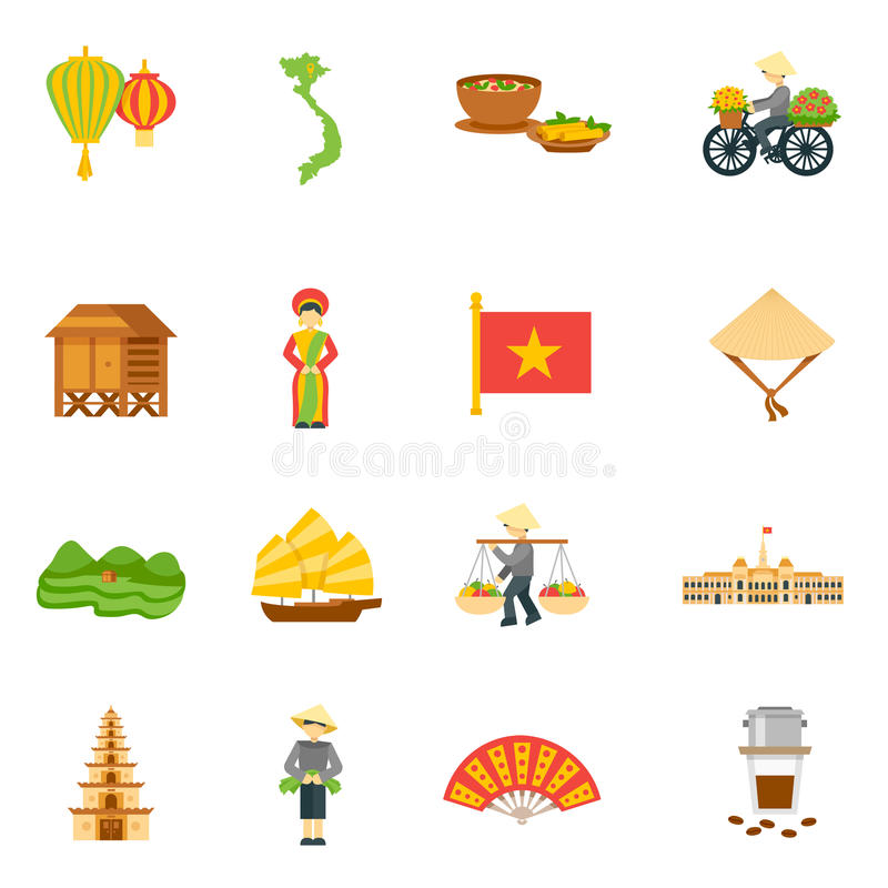 Wietnam ikony Ustawiać ilustracji