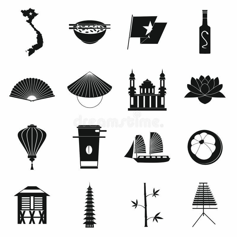 Wietnam ikony ustawiać, prosty styl ilustracji
