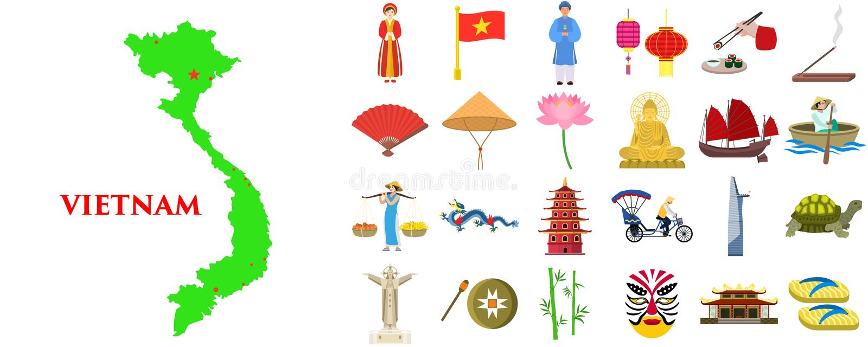 Wietnam ikony ustawia?, mieszkanie styl ilustracja wektor